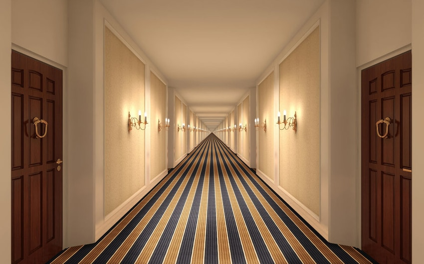 Hallway of hotel with professionally cleaned carpeting